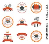 set of barbecue logos  emblems  ... | Shutterstock .eps vector #542673166