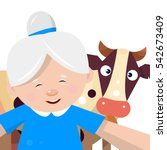 grandmother takes a selfie with ... | Shutterstock .eps vector #542673409