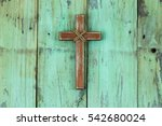 Rugged Wood Cross With Rope...