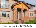 new modern cottage on sunset... | Shutterstock . vector #542682694