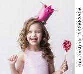 beautiful little candy princess ... | Shutterstock . vector #542683906