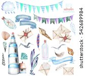 Set Of Watercolor Elements To...