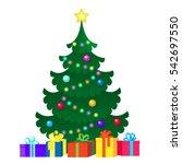 flat greeting card illustration ... | Shutterstock . vector #542697550
