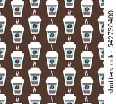 coffee seamless pattern  vector ... | Shutterstock .eps vector #542730400