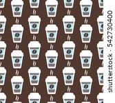 coffee seamless pattern  vector ... | Shutterstock .eps vector #542730400