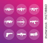 weapons  firearms icons set ...