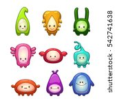 funny colorful cartoon aliens... | Shutterstock .eps vector #542741638