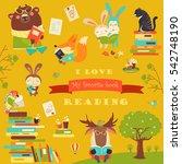 set of cartoon animals reading... | Shutterstock .eps vector #542748190