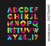 puzzle font. vector... | Shutterstock .eps vector #542756440