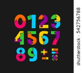 numbers puzzle pieces. vector... | Shutterstock .eps vector #542756788