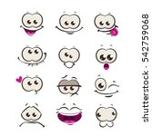 funny cartoon comic faces on... | Shutterstock .eps vector #542759068