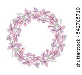 watercolor floral wreath with... | Shutterstock . vector #542765710