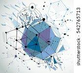 3d bauhaus abstract blue... | Shutterstock . vector #542765713