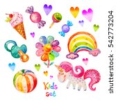 colorful watercolor kids set in ... | Shutterstock . vector #542773204