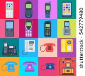 modern telephones and vintage... | Shutterstock .eps vector #542779480