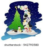 snowmen christmas tree   Shutterstock .eps vector #542793580
