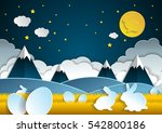 landscape easter with eggs and... | Shutterstock .eps vector #542800186