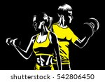 woman and man fitness with... | Shutterstock .eps vector #542806450