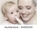 beautiful young blond mother... | Shutterstock . vector #54282244