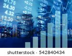 double exposure of city  graph  ... | Shutterstock . vector #542840434