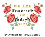 embroidery blossom roses... | Shutterstock .eps vector #542861893