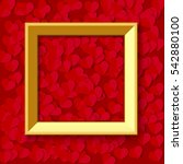 gold picture frame on red heart ... | Shutterstock .eps vector #542880100