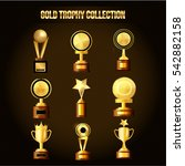 collection of gold trophy ...