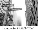 famous wall street sign in the... | Shutterstock . vector #542887060