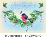 christmas card with garland and ... | Shutterstock . vector #542894140