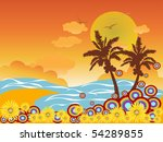 palm tree beach vacation | Shutterstock .eps vector #54289855