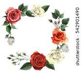 wildflower rose flower frame in ... | Shutterstock . vector #542901490