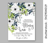 anemone wedding invitation card ... | Shutterstock .eps vector #542904019