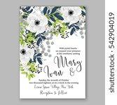 anemone wedding invitation card ... | Shutterstock .eps vector #542904019