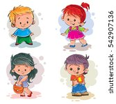 icons of the four young children | Shutterstock .eps vector #542907136