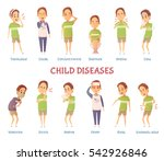 set of isolated cartoon boy... | Shutterstock .eps vector #542926846