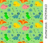 pattern with cute colorful... | Shutterstock .eps vector #542934613