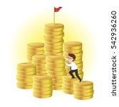 businessman climbing a pile of... | Shutterstock .eps vector #542936260