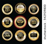 luxury golden retro badges... | Shutterstock .eps vector #542939800