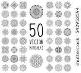 flower mandalas. vintage... | Shutterstock .eps vector #542953594