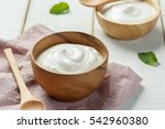 homemade yogurt or sour cream... | Shutterstock . vector #542960380