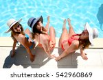 three beautiful young woman... | Shutterstock . vector #542960869