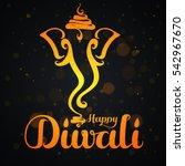 happy diwali text design.... | Shutterstock .eps vector #542967670