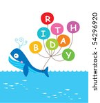 whale birthday invitation tag | Shutterstock .eps vector #54296920