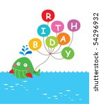 whale birthday invitation tag | Shutterstock .eps vector #54296932