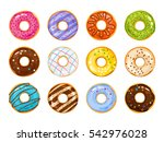 sweets donuts sugar glazed.... | Shutterstock .eps vector #542976028