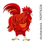 red fire rooster  serious cock  ... | Shutterstock .eps vector #542976226