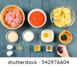 arranging food ingredients on... | Shutterstock . vector #542976604
