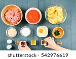 arranging food ingredients on... | Shutterstock . vector #542976619