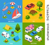 colorful camping and travel... | Shutterstock . vector #542999176