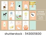 colorful cute monthly calendar... | Shutterstock .eps vector #543005830